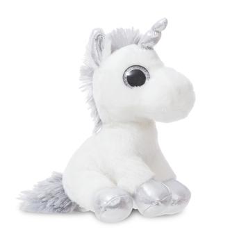 Купить Мягкие игрушки, Мягкая игрушка Aurora Единорог Silver Сияющие глазки, 20 см, серебристый с белым (150710K), Индонезия