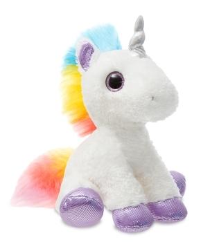 Купить Мягкие игрушки, Мягкая игрушка Aurora Единорог Dreamy Сияющие глазки, 30 см, белый с фиолетовым (161257A), Индонезия