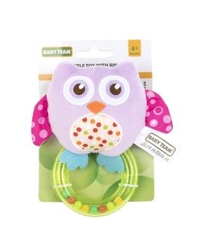 Купить Погремушки и прорезыватели, Погремушка с кольцом Baby Team Совушка, фиолетовый (8502), Фиолетовый