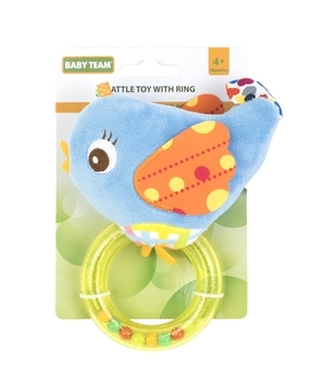 Купить Погремушки и прорезыватели, Погремушка с кольцом Baby Team Птичка, голубой (8502), Голубой