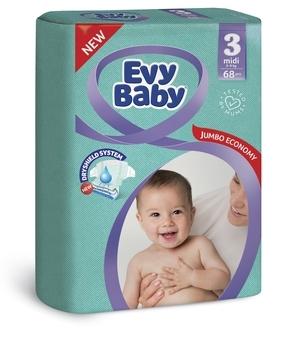 Подгузники Evy Baby Midi Jumbo 3 (5-9 кг), 68 шт.   Купить в ... 9e95c1366a9