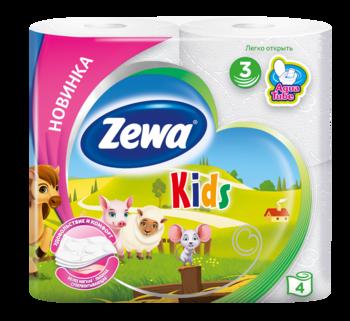 Купить Туалетная бумага, Трехслойная туалетная бумага Zewa Kids, 4 рулона, Россия