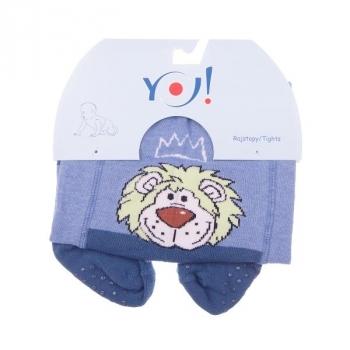 Колготки YO! ABS Лев, со стопперами, р.86-92, синий (RA-25/BOY/86-92)
