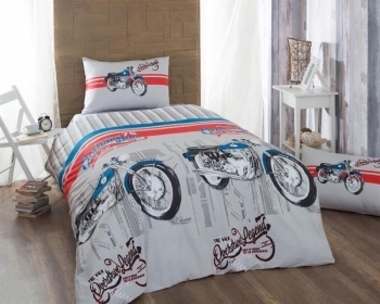 Купить Постельное белье, Комплект постельного белья LightHouse Ranforce Drive, ранфорс, 220х160 см, белый с серым (6830_1.5LH), Турция, Белый, Ранфорс