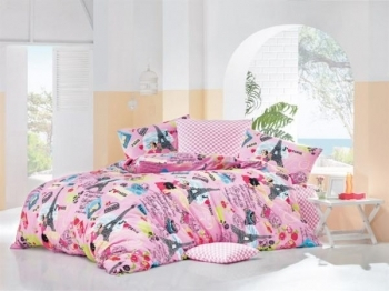 Купить Постельное белье, Комплект постельного белья LightHouse Love Paris, бязь, 220х160 см, розовый (11149-02_1.5LH), Турция, Розовый, Бязь