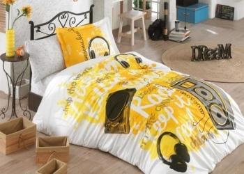 Купить Постельное белье, Комплект постельного белья Hobby Poplin Love Music, поплин, 220х160 см, желтый (32528_1, 5), Турция, Желтый, Поплин