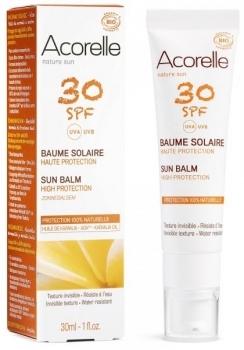 Купить Средства защиты от солнца, Солнцезащитный бальзам для лица Acorelle SPF30, органический, 30 мл, Франция