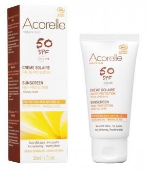 Купить Средства защиты от солнца, Cолнцезащитный крем для лица Acorelle SPF 50, с эффектом пудры, органический, 50 мл, Франция
