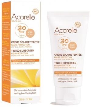 Купить Средства защиты от солнца, Cолнцезащитный крем для лица Acorelle, с эффектом тонирования SPF30, органический, 50 мл, Франция