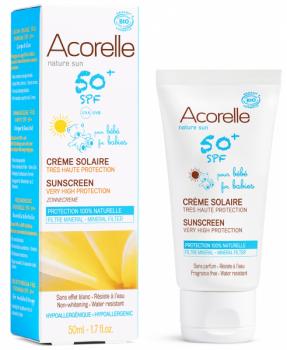 Купить Средства защиты от солнца, Солнцезащитный крем для детей Acorelle SPF 50+, органический, 50 мл, Франция