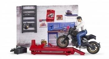 Купить Фигурки, куклы и игрушки-антистресс, Игрушечный набор Bruder Мото Сервис (62101), Германия
