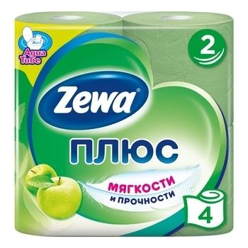 Купить Туалетная бумага, Двухслойная туалетная бумага Zewa Plus яблоко, зеленая, 4 рулона, Россия