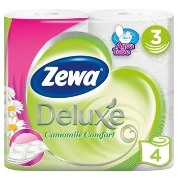 Купить Туалетная бумага, Трехслойная туалетная бумага Zewa Deluxe Camomile Comfort Ромашка, белый, 4 рулона, Россия