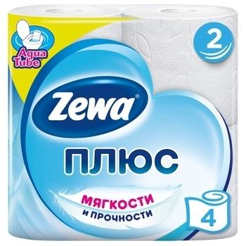 Купить Туалетная бумага, Двухслойная туалетная бумага Zewa Plus, белая, 4 рулона, Россия