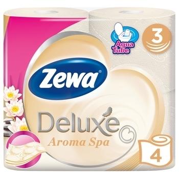 Купить Туалетная бумага, Трехслойная туалетная бумага Zewa Deluxe Aroma Spa, шампань, 4 рулона, Россия