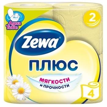 Купить Туалетная бумага, Двухслойная туалетная бумага Zewa Plus ромашка, желтая, 4 рулона, Россия