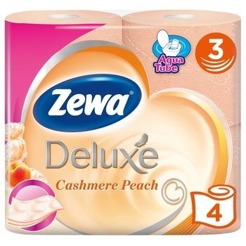 Купить Туалетная бумага, Трехслойная туалетная бумага Zewa Deluxe Cashmere Peach Персик, оранжевый, 4 рулона, Россия