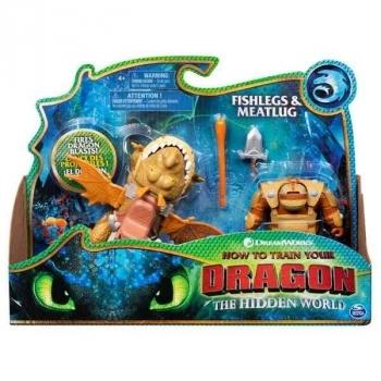 Купить Фигурки, куклы и игрушки-антистресс, Игровой набор Spin Master Как приручить дракона 3: Дракон Сарделька и всадник Рыбьеног (SM66621/7342)