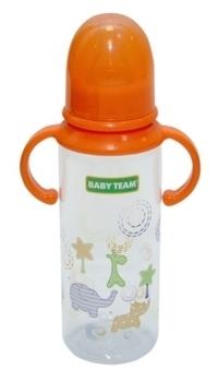 Купить Бутылочки и соски, Бутылочка с силиконовой соской Baby Team 0+, 250 мл, оранжевый (1411)