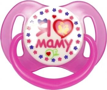Купить Пустышки и прорезыватели, Пустышка силиконовая Курносики Я люблю маму, круглая, 6-12+ мес., розовый (7015 6+ л.м), Китай, Розовый
