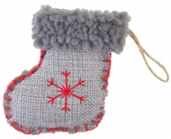 Новогодняя подвеска Yes! Fun Сапожок со снежинкой, серый (973478