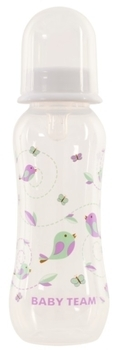 Купить Бутылочки и соски, Бутылочка с талией и силиконовой соской Baby Team, 250 мл, белый (1121), Белый
