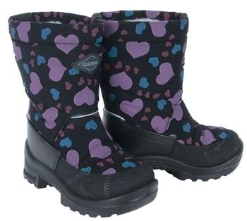 Купить Детская обувь, Зимние сапоги Kuoma Путкиварси Зимнее Сердце, на шерстяной подкладке р.24, черный (130303-0307-24), Финляндия, Черный