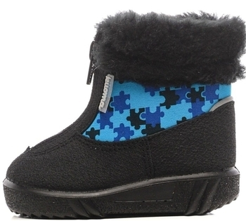Купить Детская обувь, Зимние полусапожки Kuoma Беби, на шерстяной подкладке, р.21, черный с голубым (134167-6794-21), Финляндия, Черный