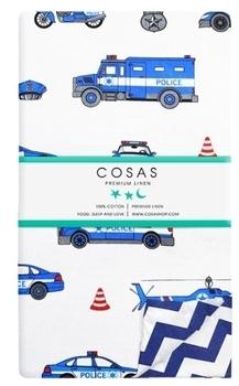 Купить Постельное белье, Пододеяльник Cosas Машинки, 215х155 см, белый с синим, Украина, Белый, Бязь