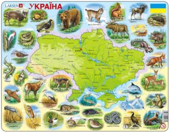 Купить Пазлы, шнуровки и головоломки, Пазл рамка-вкладыш Larsen Макси Карта Украины - животный мир (K37), Норвегия