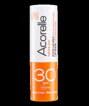 Купить Средства защиты от солнца, Бальзам для губ солнцезащитный органический Acorelle SPF 30, 4 г, Франция