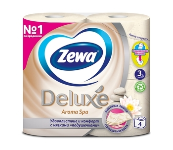 Трехслойная туалетная бумага Zewa Deluxe Aroma Spa, шампань, 4 рулона