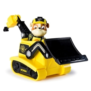 Спасательный автомобиль Paw Patrol Щенячий патруль тайная миссия с фигуркой Крепыша, желтый с черным (SM16702-9)