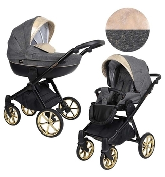 Купить Детские коляски, Универсальная коляска 2 в 1 Kunert Talisman 04, серый с золотым (K-T-04), Польша, Серый