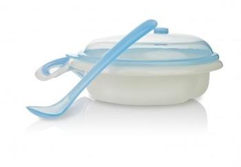 Тарелка 2-х секционная Nuby с держателем для СВЧ-печи, голубой (5312blu) Nuby