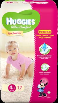 Купить:  Подгузники Huggies Ultra Comfort для девочек 4+ (10-16 кг) 17 шт. Huggies