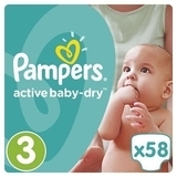 Подгузники Pampers Active Baby-Dry Midi 3 (4-9 кг), 58 шт. - Pampik