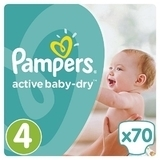 Подгузники Pampers Active Baby-Dry Maxi 4 (8-14 кг) JUMBO PACK 70 шт.