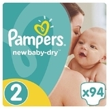 Подгузники Pampers New Baby-Dry Mini 2 (3-6 кг) JUMBO PACK 94 шт. - Pampik