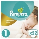 Подгузники Pampers Premium Care New Born 1 (2-5 кг), 22 шт.