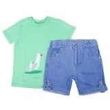 Комплект Bembi, супрем и джинс, р.98, зеленый и синий (КС510) - Pampik