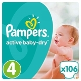 Подгузники Pampers Active Baby-Dry Maxi 4 (8-14 кг) Giant Box Plus, 106 шт.