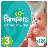Подгузники Pampers Active Baby-Dry Midi 3 (5-9 кг) Giant Box Plus, 126 шт. - Pampik