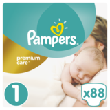 Подгузники Pampers Premium Care New Born 1 (2-5 кг) ECONOM PACK 88 шт.