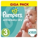 Подгузники Pampers Active Baby-Dry Midi 3 (5-9 кг) GIGA PACK, 168 шт.