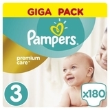 Подгузники Pampers Premium Care Midi 3 (5-9 кг) GIGA PACK, 180 шт.