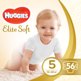 Подгузники Huggies Elite Soft 5 (12-22 кг) MEGA PACK, 56 шт. - Pampik