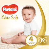 Подгузники Huggies Elite Soft 4 (8-14 кг), 19 шт. - Pampik