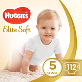 Подгузники Huggies Elite Soft 5 (12-22 кг) BOX, 112 шт. - Pampik