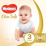 Подгузники Huggies Elite Soft 3 (5-9 кг) BOX, 160 шт. - Pampik